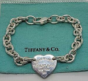 "Tiffany & Co. Sterling Silver Please Return to Tiffany Heart Tag Bracelet 7.5"""