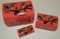 Set of 3 Hand Painted Birds Nicaragua Souvenir Wooden Nesting Trinket Boxes