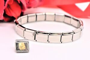 Italian Modular Nomination Zodiac AQUARIUS Link Charm W/17 Link Bracelet BN