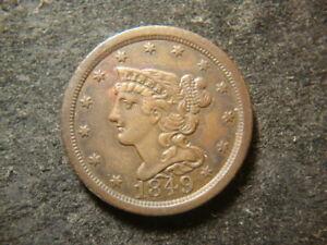 1849 AU Choice Coronet Head Half Cent Nice Coin AZX