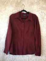 New York & Company Womens Button Down Shirt Red Long Sleeve Collar L