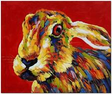 Rabbit Hare Bunny Art - Hand Painted Impressionism Oil Painting On Canvas