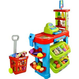 Children's Toy Super Market Playset w/ Cash Register Scanner Shopping Cart PS85