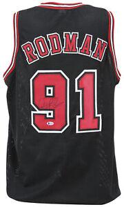 Dennis Rodman Authentic Signed Black Pro Style Jersey Autographed BAS or PSA