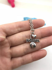 I Love Baseball Necklace Charms Jewelry Tibet silver Pendant Chain Necklace