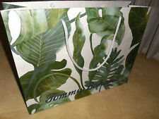 """TOMMY BAHAMA  empty paper gift shopping BAG tropical muted green leaf 15""""X11.5"""""""