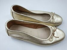 The Shoe Tailor size 4 (37) gold leather pumps ballet flats slip on loafers