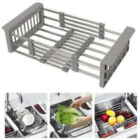 Portable Organizer Stainless Steel Telescopic Sink Drain Basket Dish Drying Rack