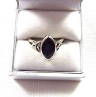 Created Black Onyx Sterling Silver Celtic Knot Solitaire Ring US (9) AU (R 3/4)