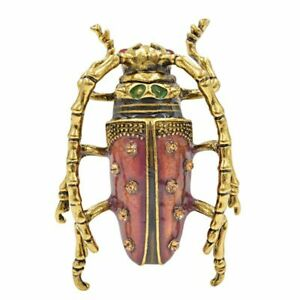 Women Beetle Brooches Tentacles Insect Brooch Pin Vivid Animal Jewelry Enamel Us