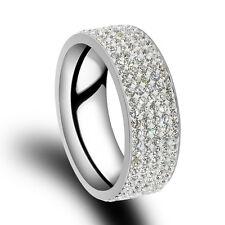 Unisex CZ Stainless Steel Ring Men/Women's Wedding Gold Silver Band Rings Sz8-10