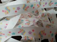 Rainbow Unicorn Ribbon Width 15mm by Berisfords for Habicraft  Various Lengths
