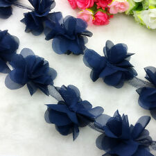 New Hot 1 Yard Flower Chiffon Wedding Dress Bridal Fabric Lace Trim Pick Colors