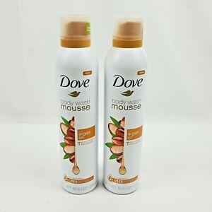 2X Dove Body Wash Mousse Argan Oil 10.3oz each