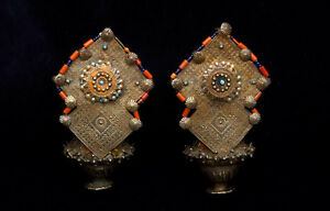 """Antique ethnic """"Muchley"""" gilt silver large earrings, Afghanistan 1920's"""