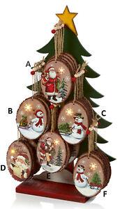 CHRISTMAS TREE ORNAMENT Wooden Plaque With LED Light Snowman Santa 12cm