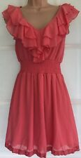 NEW LOOK 12 vgc ladies coral frill sleeveless party dress knee length