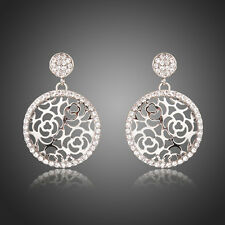 New Sparkly Clear White Silver Austria Crystal Rhinestones Round Hollow Earrings