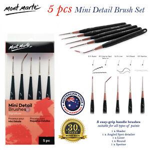 5pce Mont Marte Mini Detail Brush Set Taklon Brushes Art Acrylic Oil Painting