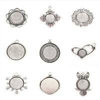 10pcs Vintage Tibetan Alloy Pendant Cabochon Bezel Settings Silver Flat Tray Mix