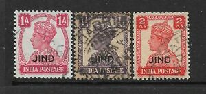 1940-43 JIND,SG140-144,CAT £16.50. 3 VALUES,USED,KGVI,INDIA,INDIAN STATES