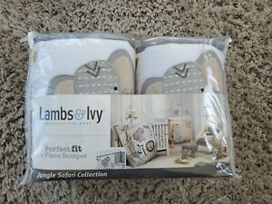 Lambs & Ivy Jungle Safari Gray/White Elephant 4-Piece Baby Crib Bumper Pads New