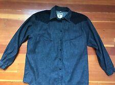 moschino jeans black denim & lace LS blouse western style shirt button down Sz M