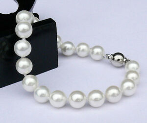 Fashion 10mm South Sea Shell Pearl Round Beads Bracelet 7.5""