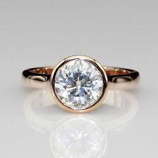 Set Solitaire 14k Rose Gold Ring Round Cut 1.6ct Esdomera Moissanite Bezel