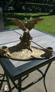 Antique Bronze Eagle Inkwell Signed by A. Marionnet
