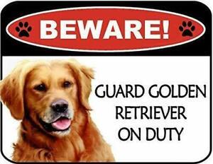 Beware Golden Retriever On Duty Laminated Dog Sign SP3113