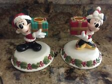 Disney Store Vintage Christmas Mickey & Minnie Mouse Candle Holders Ceramic