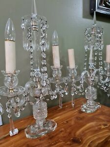 """PAIR of Crystal Electric lighted Mantle or Table Lamps Candelabra 22"""" Czech"""