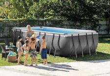 New listing Intex 18ft X 9ft X 52in Ultra Frame Rectangular Pool Set with Sand Filter Pump L