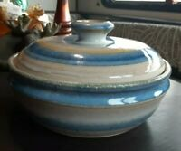 Stoneware Studio Pottery Lidded Casserole Dish Artist Signed clay fired glaze