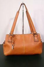 Vintage Fossil Orange Caramel Brown Leather Satchel Handbag Purse / Pre-Owned