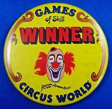 "Games of Skill Winner Circus World Barnum & Bailey Pin Pinback Button 3"""