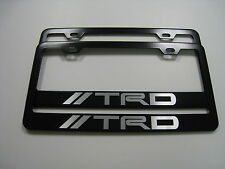"2 Brand New ""TRD"" BLACK Metal License Plate Frame Front&Rear"
