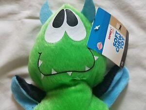 "Family Pet Dog Puppy Toy Soft Chew Green Plush Throw Fetch Squeaker Plush 7""X4"""