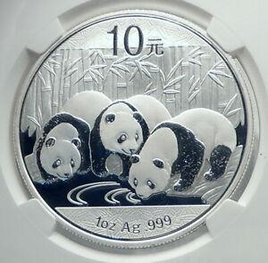 2013 CHINA 3 PANDAS Bamboo TEMPLE HEAVEN Silver 10 Yuan Chinese Coin NGC i78905