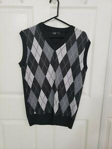 LOG Men's Black Diamond Pattern Dress Cotton Vest Size Small