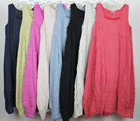 New Ladies Stripe Design Italian Lagenlook  Square Neck Long Pocket Linen Dress