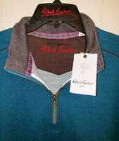 Robert Graham Quarter Zip Pullover Sweater Mens XL NWT $198.00 Heather Teal