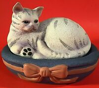 """CAT COVERED DISH SILVESTRI BY MARY LAKE THOMPSON HAND PAINTED 7 1/2""""W VINTAGE"""