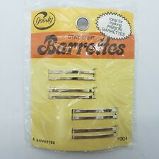 Vintage 1970s Goody Stay Tight Barrettes Metal, Two Gold/Two Silver 1975 NEW NIP
