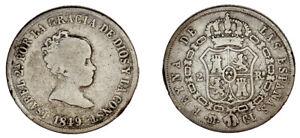 2 SILVER REALES ISABELLA II - 2 REALES PLATA ISABEL II. MADRID 1849. VF- / MBC-