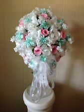 Silk Brides Bouquet = 20 Pc. Wedding Pkg. Mint Green, Pink & White or Your Color