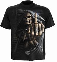 Spiral BONE FINGER Black Mens T-Shirt Gothic Skull Punk Rock Biker Reaper Tattoo