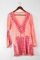 Melissa Odabash Womens Small Pink Coverup Swim Floral Embroidered Beach Tunic