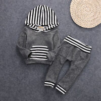 2pcs Newborn Infant Baby Boy Gray Clothes Hooded Tshirt TopsPants Outfits Set